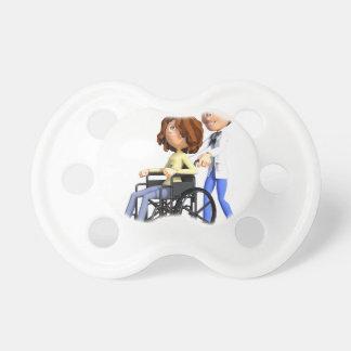 Cartoon Doctor Wheeling Patient In Wheelchair Baby Pacifier