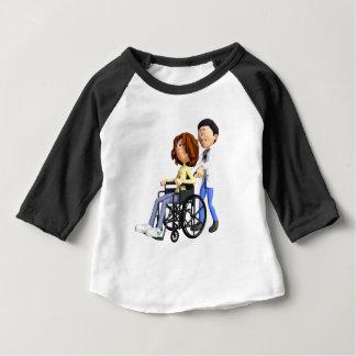 Cartoon Doctor Wheeling Patient In Wheelchair Baby T-Shirt