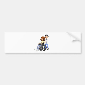 Cartoon Doctor Wheeling Patient In Wheelchair Bumper Sticker