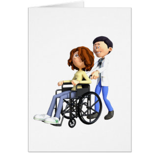 Cartoon Doctor Wheeling Patient In Wheelchair Card