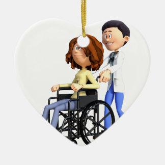 Cartoon Doctor Wheeling Patient In Wheelchair Ceramic Ornament