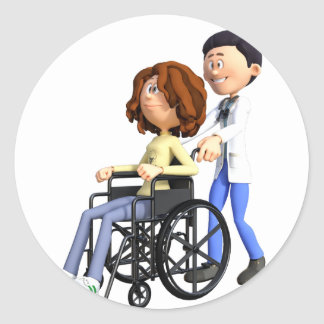Cartoon Doctor Wheeling Patient In Wheelchair Classic Round Sticker