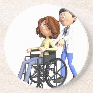 Cartoon Doctor Wheeling Patient In Wheelchair Coaster