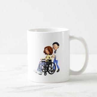 Cartoon Doctor Wheeling Patient In Wheelchair Coffee Mug