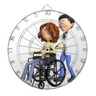 Cartoon Doctor Wheeling Patient In Wheelchair Dartboard