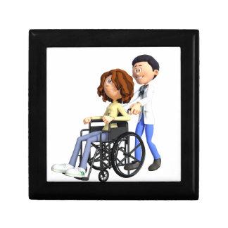 Cartoon Doctor Wheeling Patient In Wheelchair Gift Box