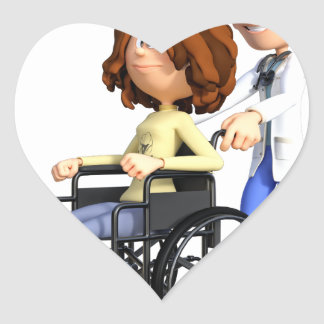 Cartoon Doctor Wheeling Patient In Wheelchair Heart Sticker