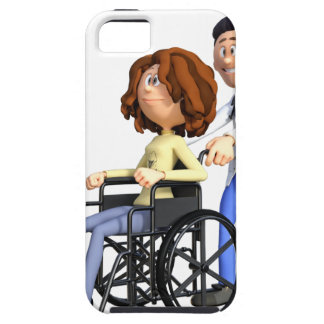 Cartoon Doctor Wheeling Patient In Wheelchair iPhone 5 Covers