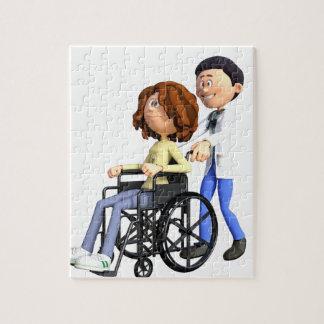 Cartoon Doctor Wheeling Patient In Wheelchair Jigsaw Puzzle