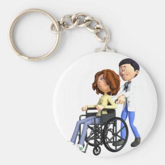 Cartoon Doctor Wheeling Patient In Wheelchair Keychain