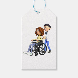 Cartoon Doctor Wheeling Patient In Wheelchair Pack Of Gift Tags
