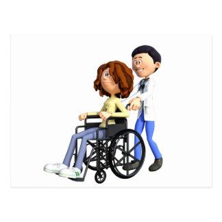 Cartoon Doctor Wheeling Patient In Wheelchair Postcard