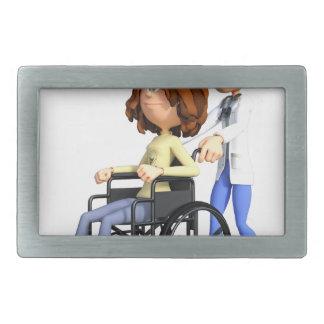 Cartoon Doctor Wheeling Patient In Wheelchair Rectangular Belt Buckle