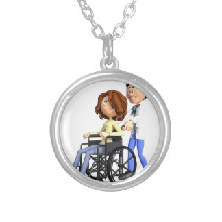 Cartoon Doctor Wheeling Patient In Wheelchair Silver Plated Necklace