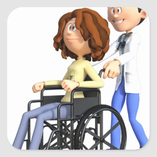 Cartoon Doctor Wheeling Patient In Wheelchair Square Sticker