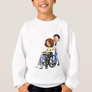 Cartoon Doctor Wheeling Patient In Wheelchair Sweatshirt