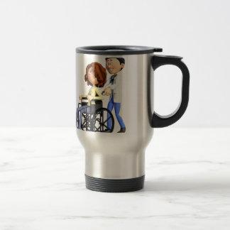 Cartoon Doctor Wheeling Patient In Wheelchair Travel Mug