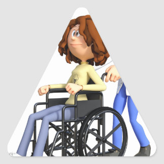 Cartoon Doctor Wheeling Patient In Wheelchair Triangle Sticker