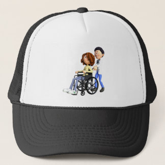 Cartoon Doctor Wheeling Patient In Wheelchair Trucker Hat