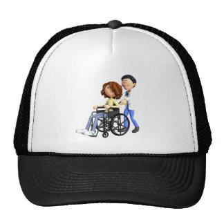 Cartoon Doctor Wheeling Patient In Wheelchair Trucker Hat