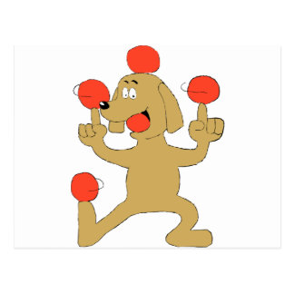 Cartoon Dog Balancing Balls Postcard