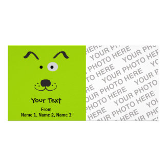 Cartoon Dog Face Illustration Custom Photo Card