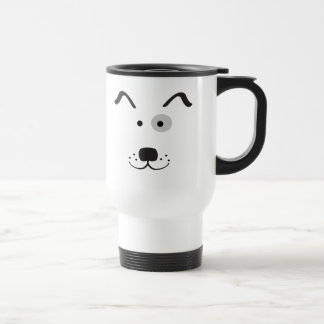 Cartoon Dog Face Illustration Travel Mug