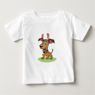 Cartoon Dog In Antlers Baby T-Shirt