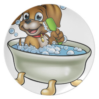 Cartoon Dog in the Bath Plate
