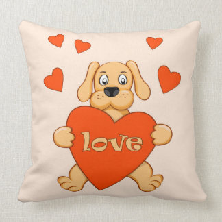 cartoon dog keeping heart with love throw pillow