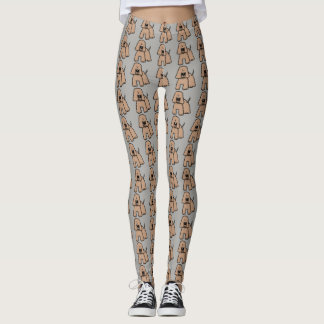 Cartoon dog pattern on gray background leggings