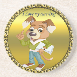 Cartoon dog student getting ready for school #1 coaster