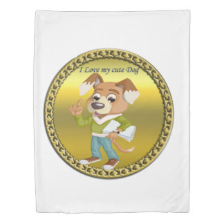Cartoon dog student getting ready for school #1 duvet cover