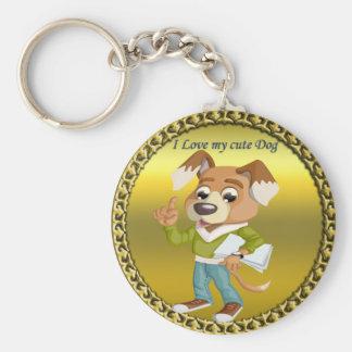 Cartoon dog student getting ready for school #1 keychain