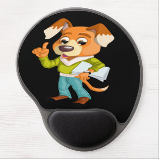 Cartoon dog student getting ready for school #2 gel mouse pad