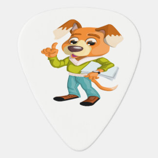 Cartoon dog student getting ready for school #2 guitar pick
