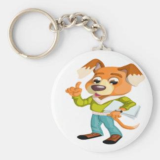 Cartoon dog student getting ready for school #2 keychain