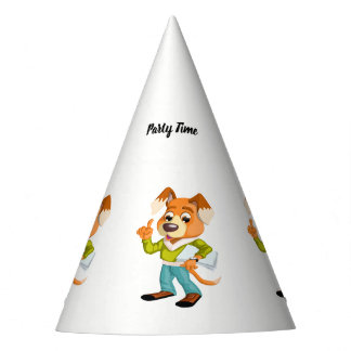 Cartoon dog student getting ready for school #2 party hat