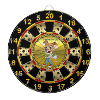 Cartoon dog student I love education Dartboard