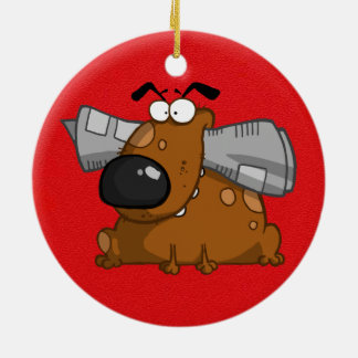 cartoon dog with newspaper in his mouth round ceramic ornament
