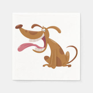 Cartoon Dog With Tongue Out Paper Napkins