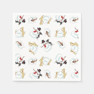 Cartoon Dogs Playing In Snow Disposable Napkin