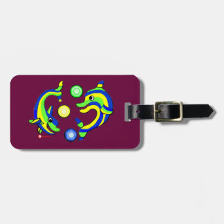 Cartoon Dolphins Luggage Tag