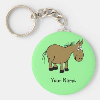 Cartoon Donkey Basic Round Button Keychain