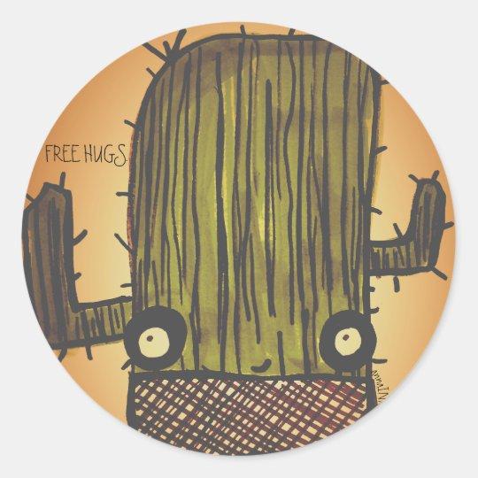 Cartoon Doodle Cactus Classic Round Sticker