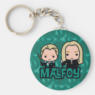 Cartoon Draco and Lucius Malfoy Character Art Keychain