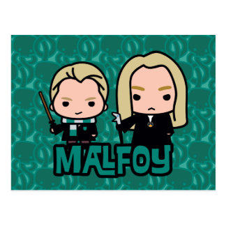 Cartoon Draco and Lucius Malfoy Character Art Postcard