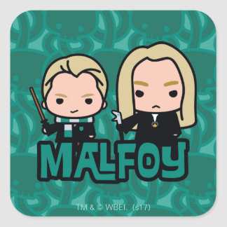 Cartoon Draco and Lucius Malfoy Character Art Square Sticker