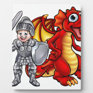 Cartoon Dragon and knight 2017 A3-01 Plaque
