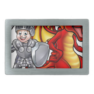 Cartoon Dragon and knight 2017 A3-01 Rectangular Belt Buckle